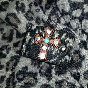 Buckle Rhinestone & Leather Cuff